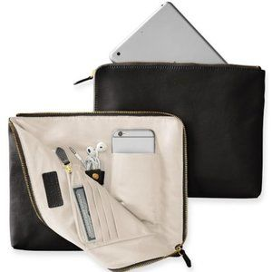 Mark & Graham black leather Commute Clutch